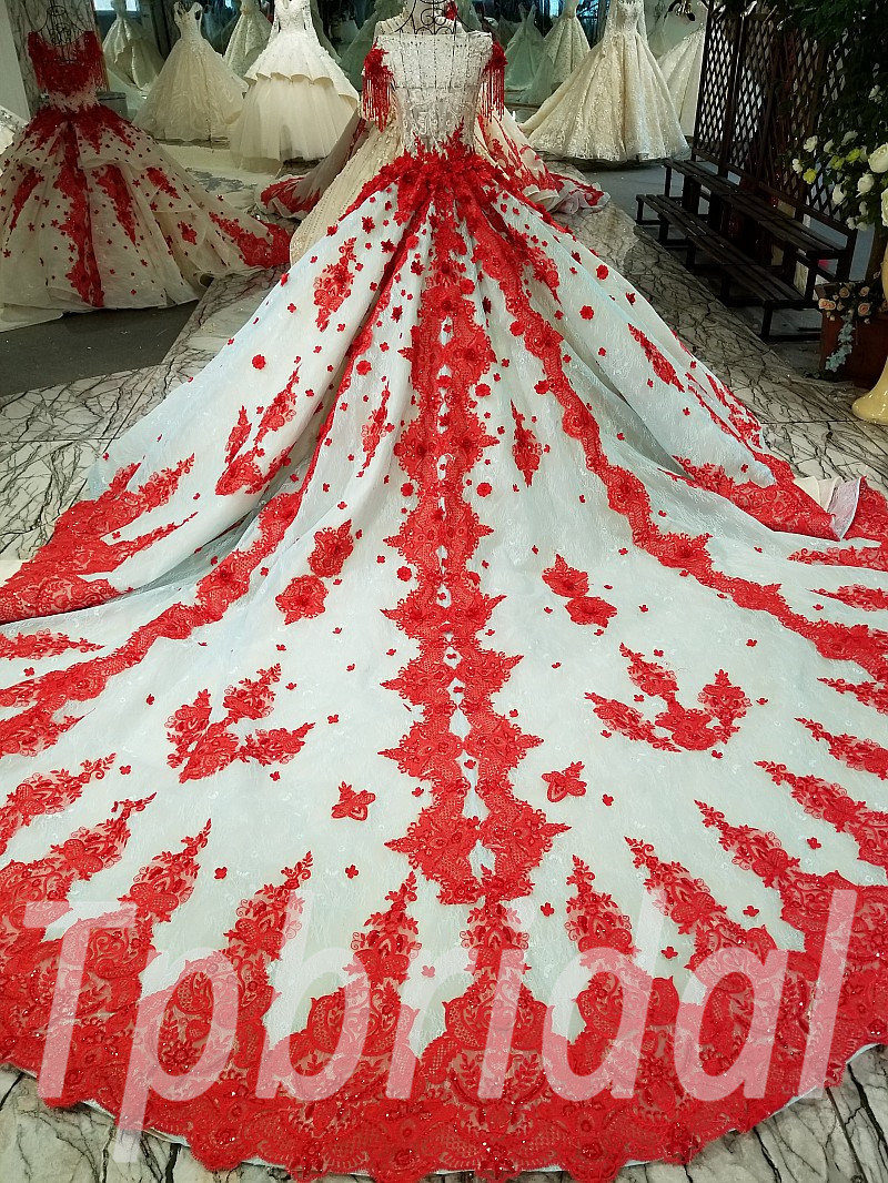 Wedding Dress Ball Gown Plus Size Red Long Sleeves 2018