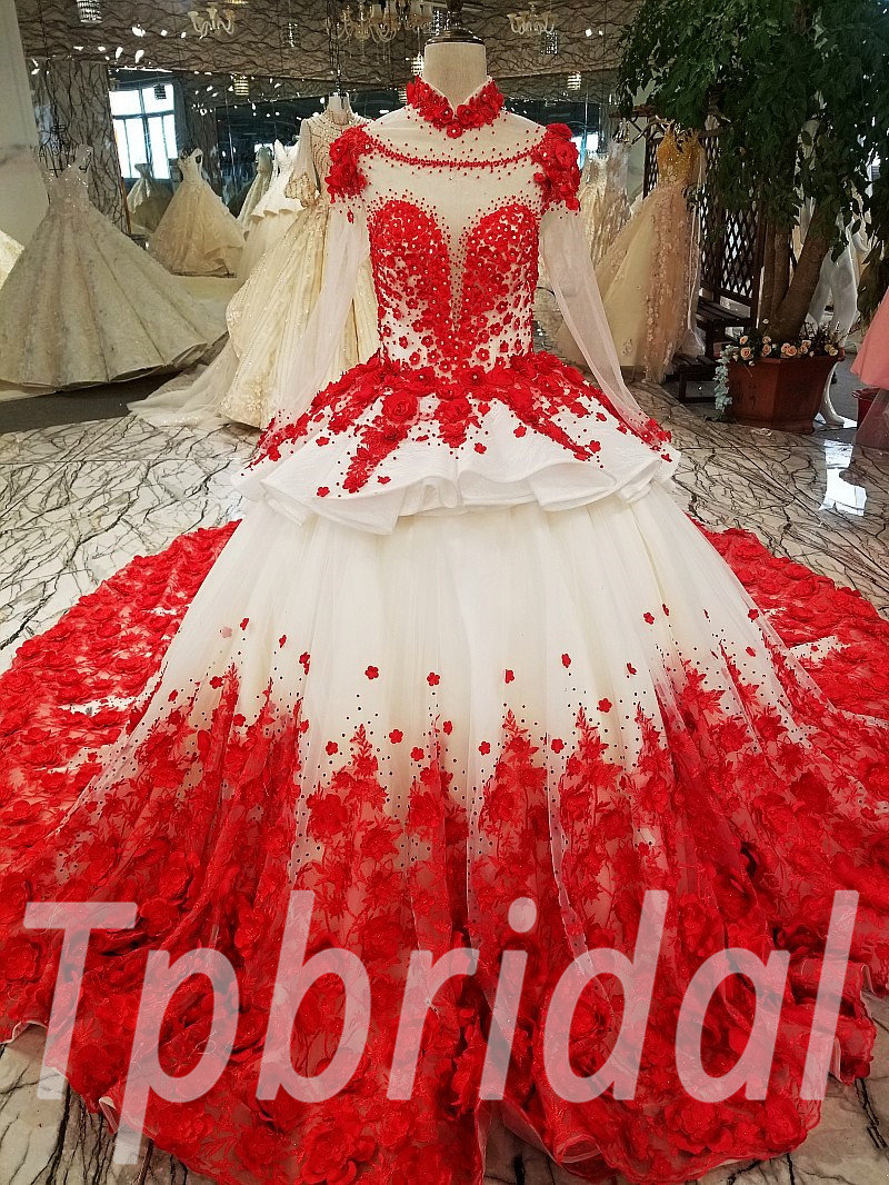 Red Wedding Dress Plus Size High Neck Long Train Girls