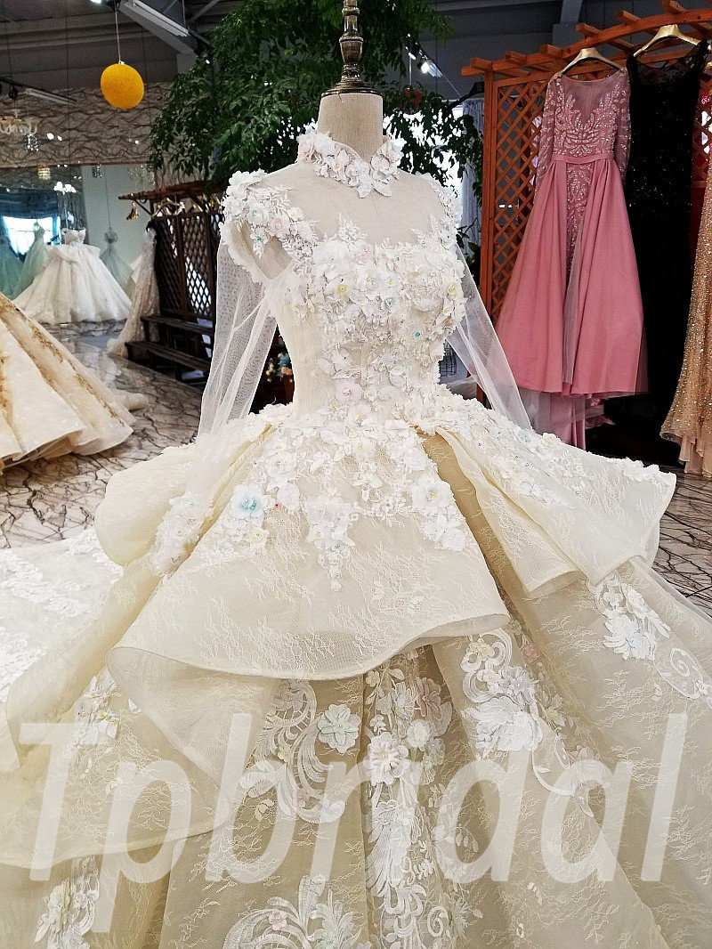 Wedding Dress High Neck Lace Ball Gown Long Sleeve