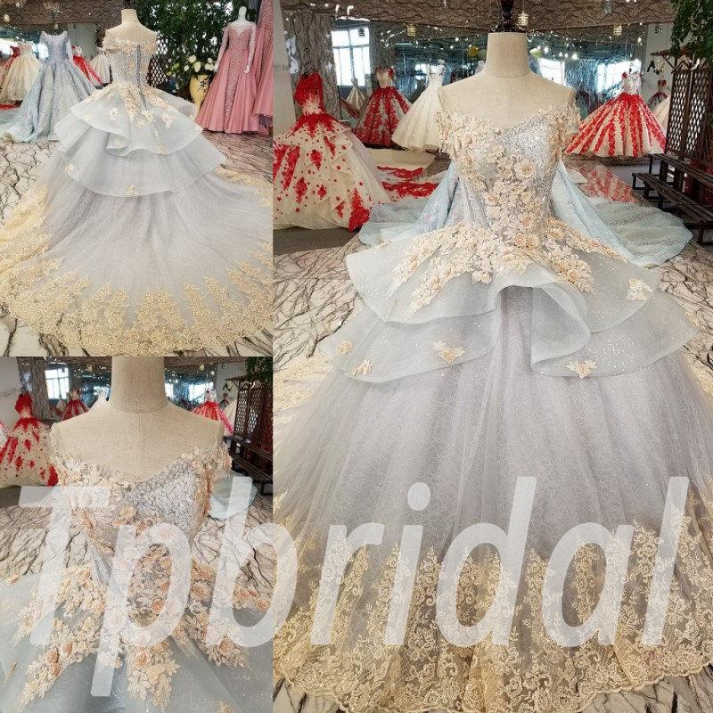 Formal Dresses Girls Light Blue Ball Gown Lace Wedding Dress