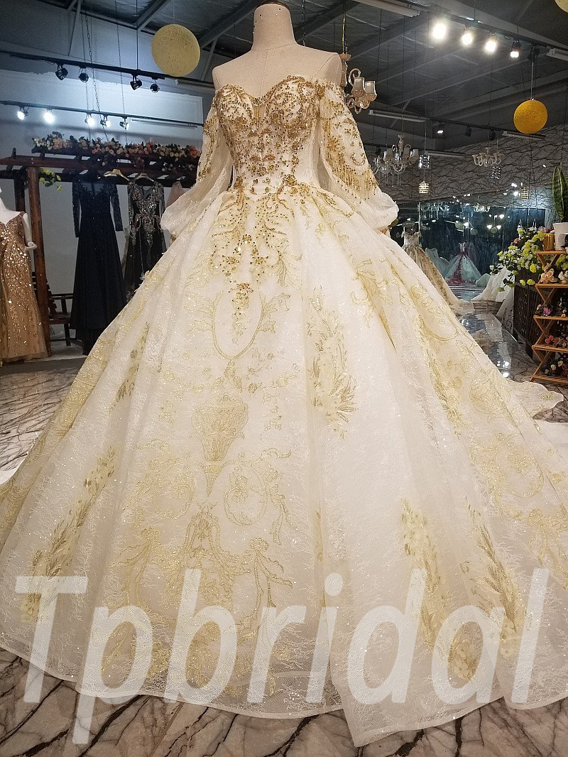 Gold And White Wedding Dress Long Train Hand Made