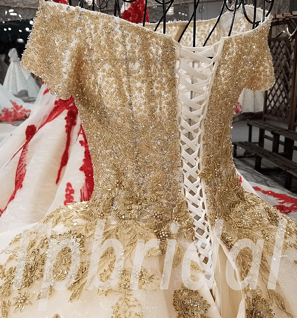 Gold Wedding Dress 2018 Ball Gown Prom Party Dress Sale