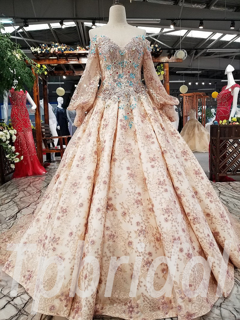 Long Sleeve Wedding Dress Ball Gown Pink Prom Party Dress