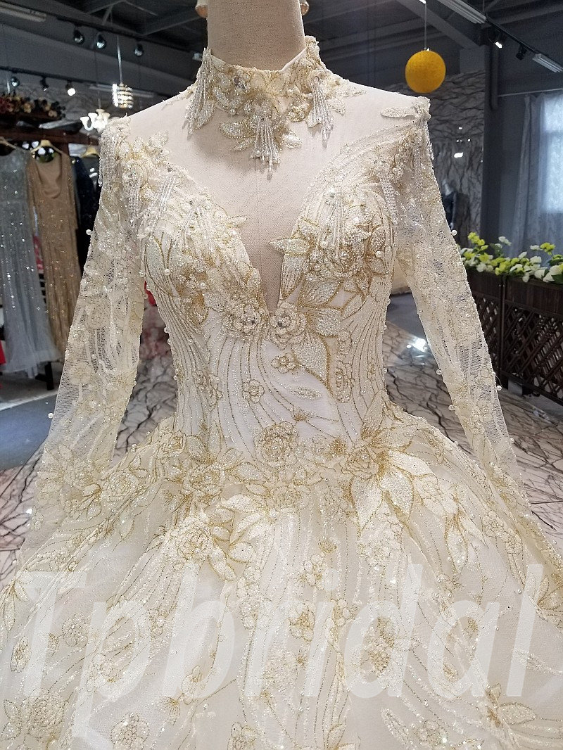 White And Gold Wedding Dress Ball Gown Under 500