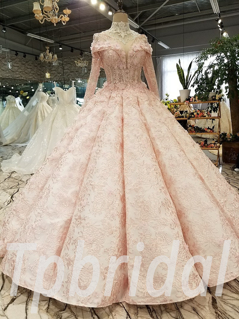 Ball Gown Bridal Dress Pink Long Sleeve Plus Size For Sale