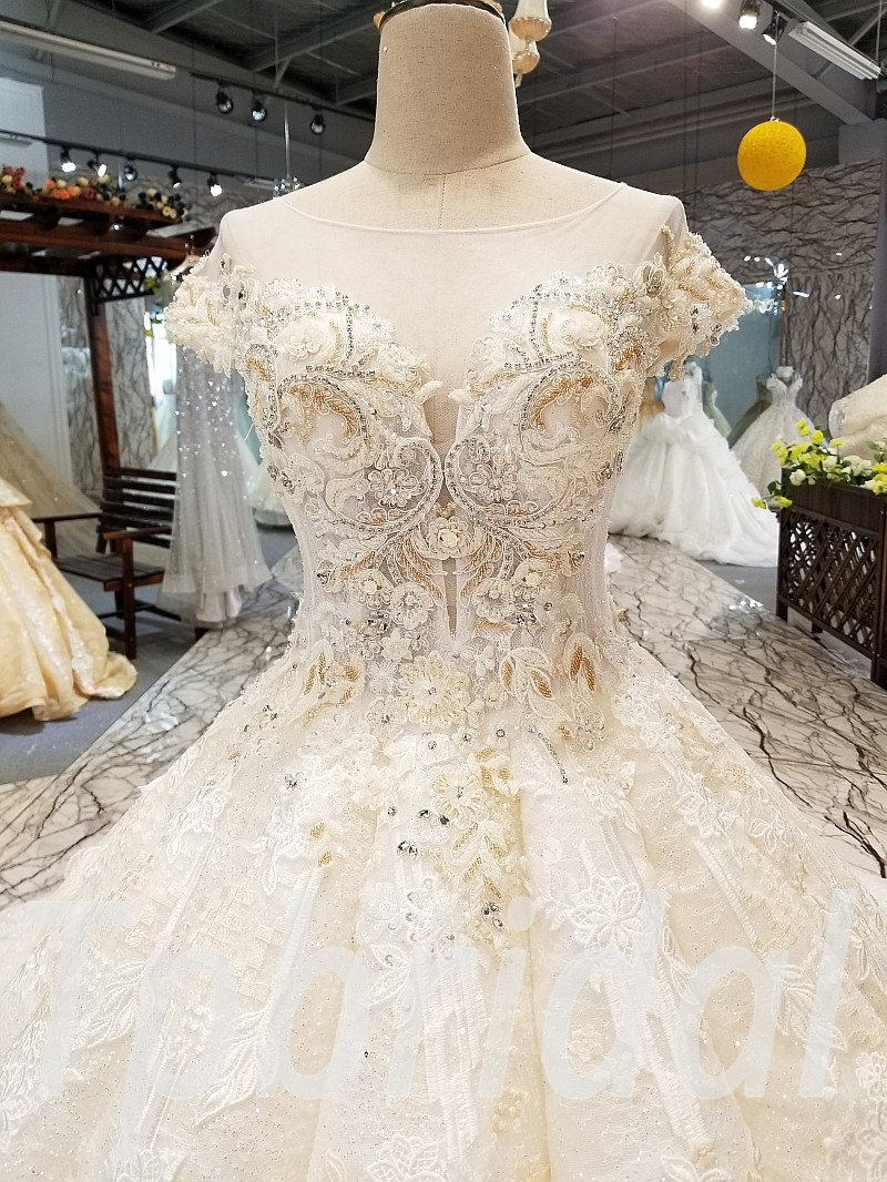 Ball Gown Wedding Dress With Train Champagne White Bridal
