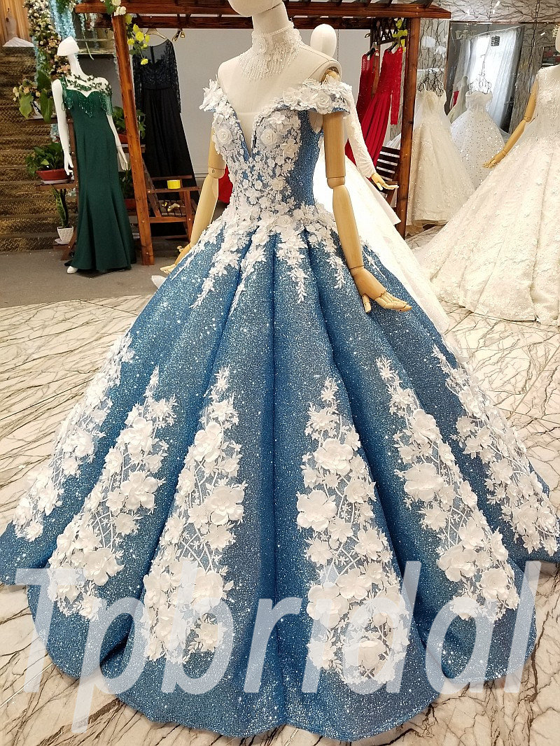 Blue Prom Dress Custom Made Wedding Dress Plus Size