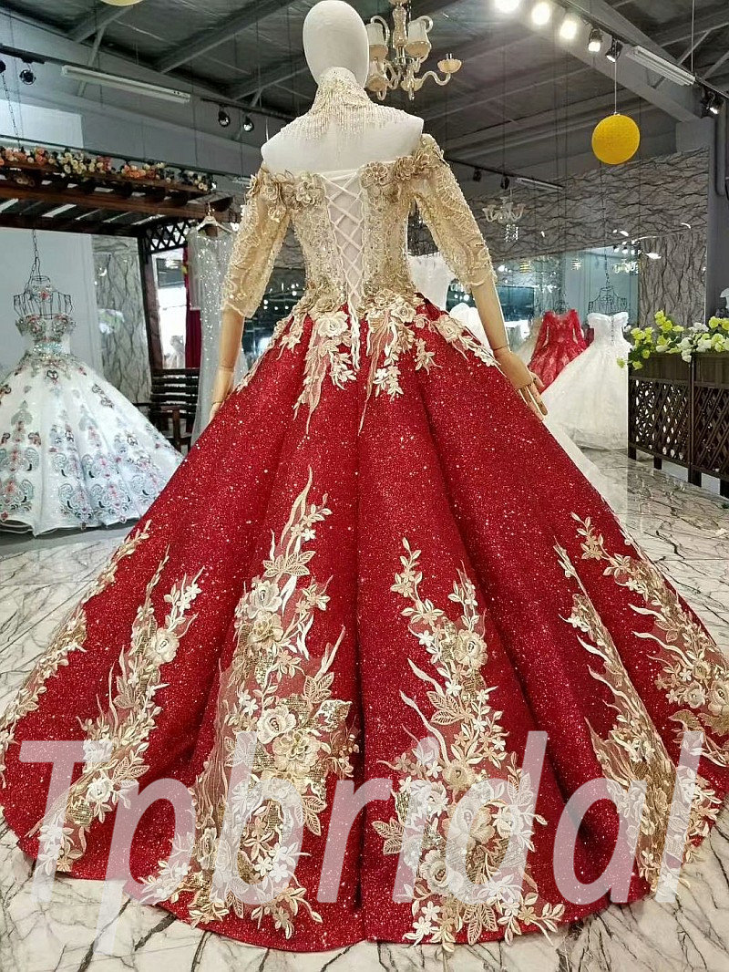 Red And Gold Prom Dress Ball Gown Bling Bridal Gown Online