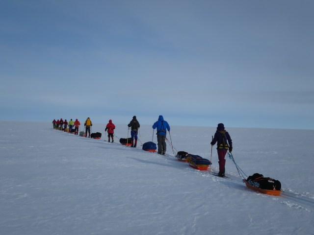 Our big group on featureless icecap