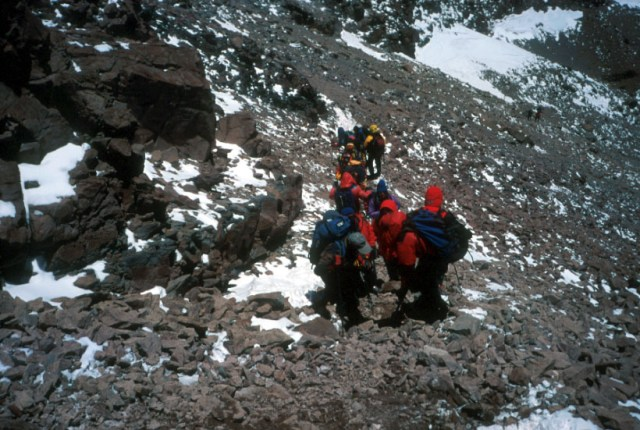 Climbers on the descent