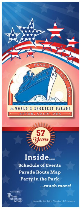 Schedule of Events • 2018 Parade Sponsors • Grand Marshal Michael Watkins • Letter from the Aptos Chamber President • Parade Route & Map • The World's Shortest Parade Has Come a Long Way! • Aptos Parade Celebrates 57 Years • SS Palo Alto • Parade Categories • 2017 Aptos 4th of July Parade Winners • Parade Participation