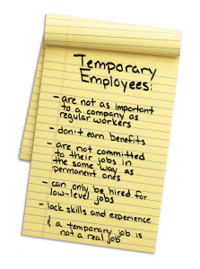 Photo of e legal pad with the words Temporary Employees in big bold print