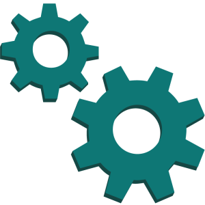 A picture of two green gears representing industrial sector.
