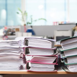 A stack of paperwork.