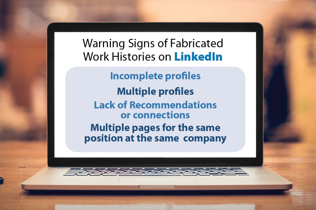 Infographic describing the warning signs of a fabricated LinkedIn profile.