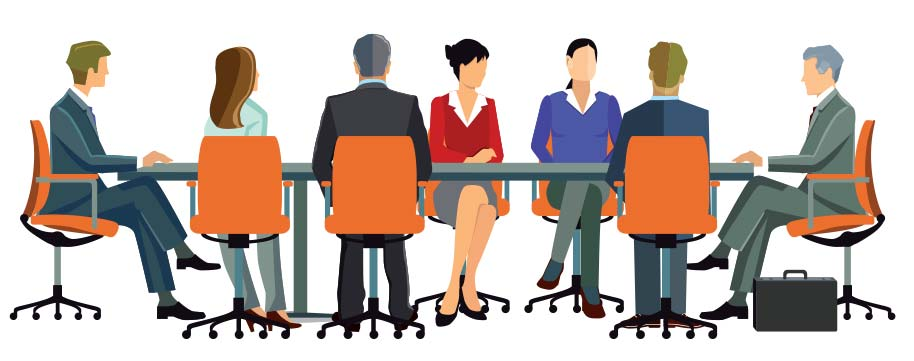 Illustration of business professionals at a desk.