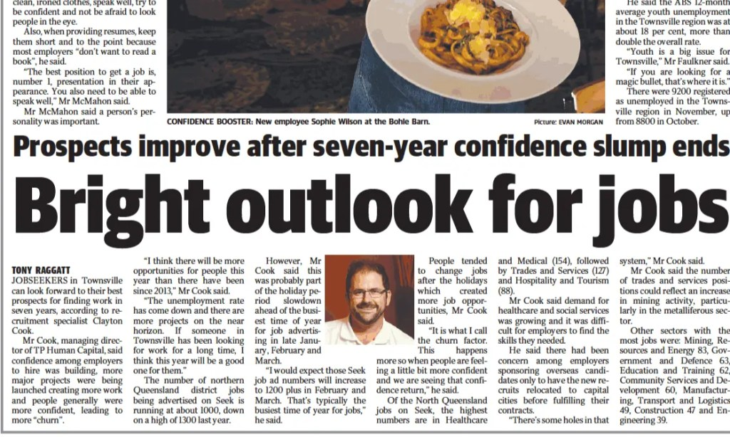 Townsville Bulletin Newspaper clipping with article