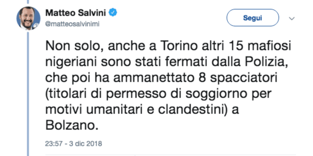 spataro salvini tweet mafia nigeriana