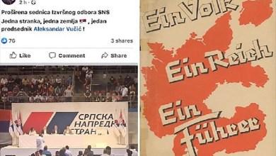 """Photo of NACISTIČKI SLOGAN U SLUŽBI SNS: """"Jedna stranka, jedna zemlja, jedan predsednik"""""""