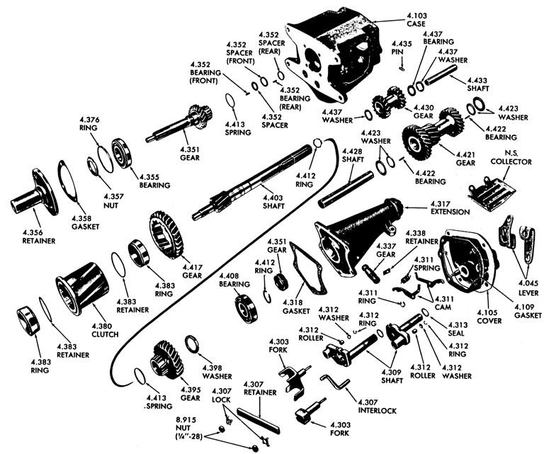 1958-65 Pontiac Tempest Manual Trans Illustrated Parts