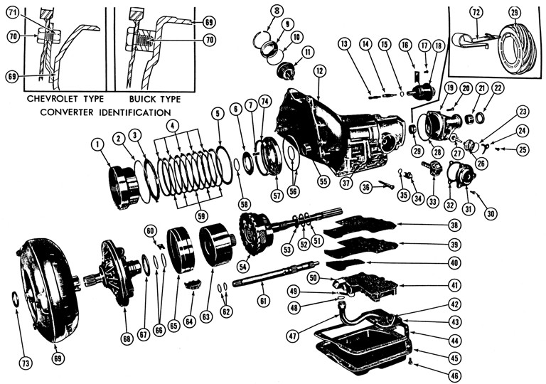 1964-69 Firebird & Tempest Auto Trans Exploded View