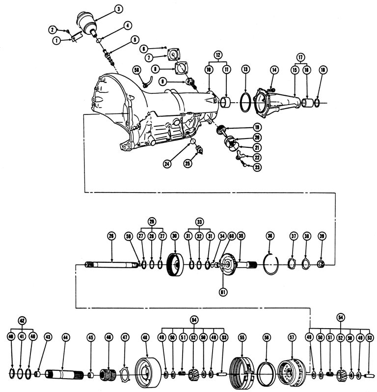 1965-72 Pontiac Turbo-Hydramatic Transmission (M-40) Illustrated Parts Break Down. Case/Carrier