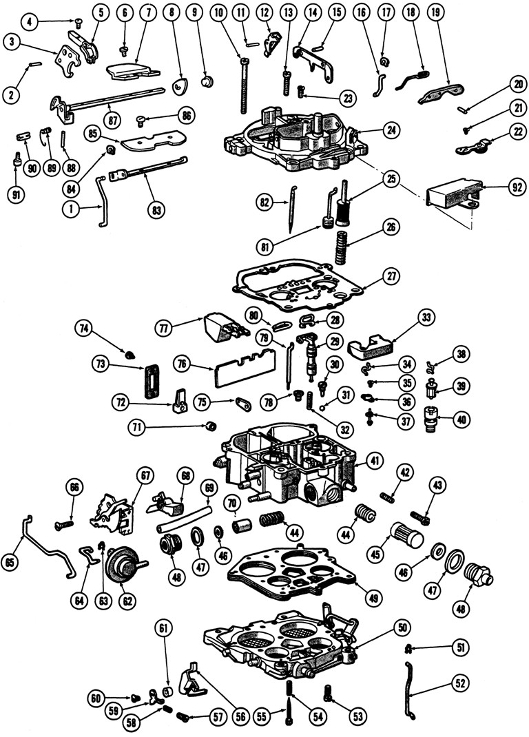medium resolution of quadrajet parts diagram wiring diagram pass 1966 69 quadrajet 4 barrel carburetor illustrated parts break down