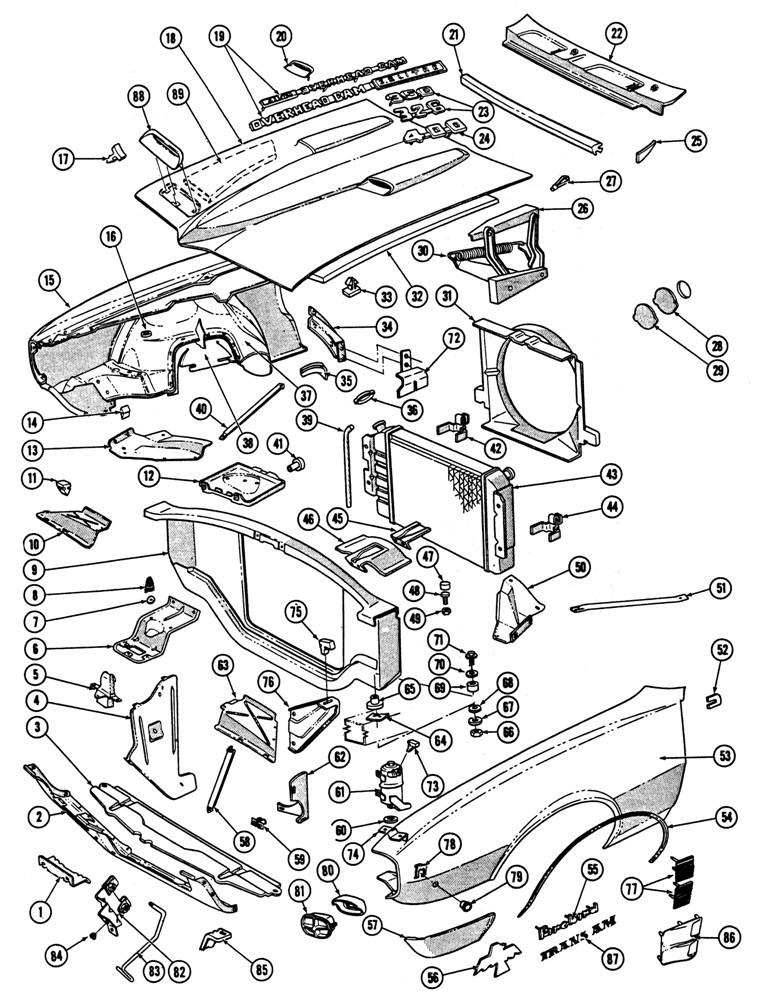 1967-68 Firebird Front Sheet Metal Illustrated Parts Break
