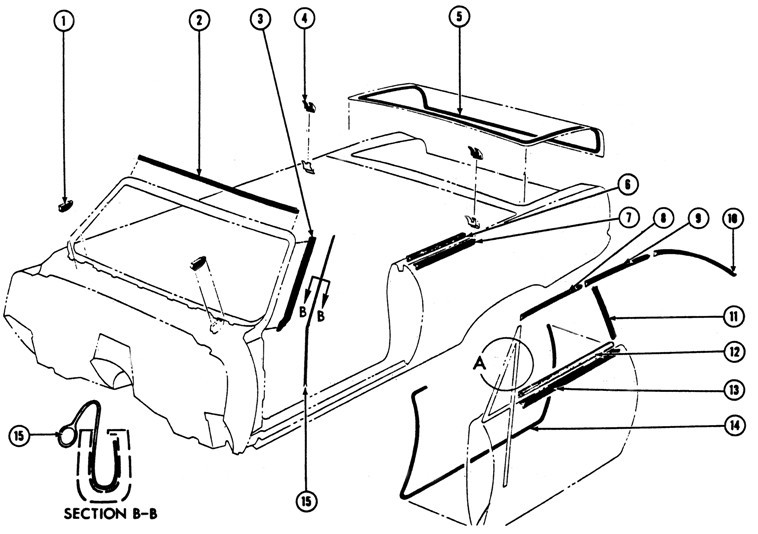 1967-69 Firebird Convertible Weather Stripping Illustrated