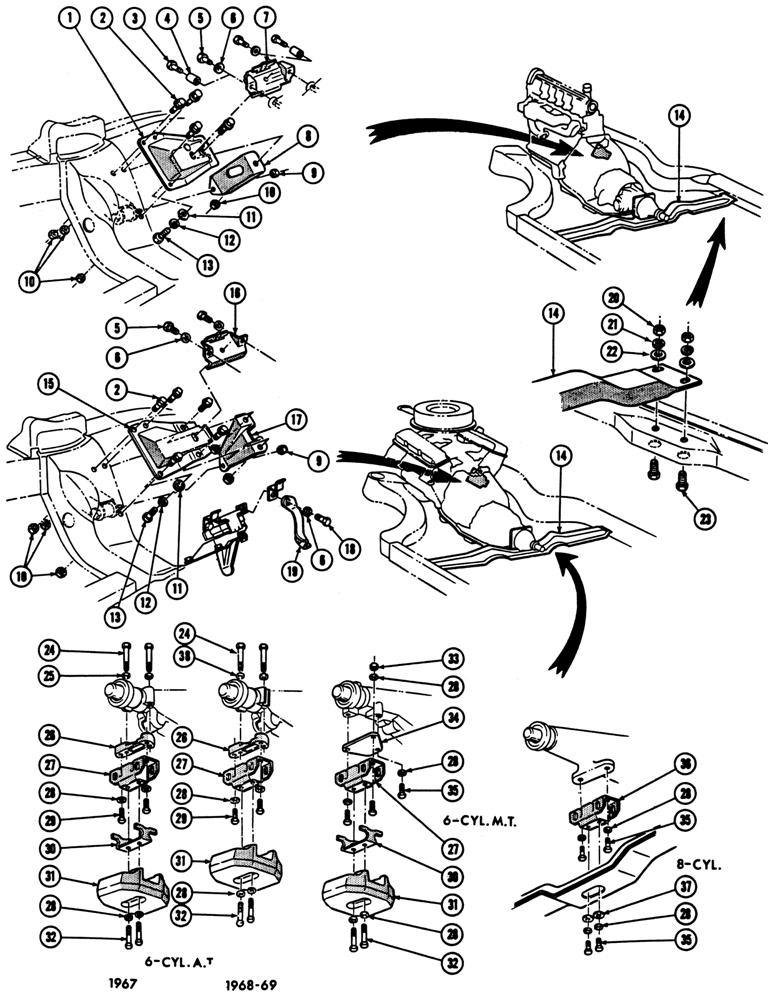 1967-69 Firebird Engine & Transmission Mounting
