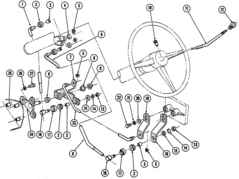 1967-69 Firebird 3 spd. Column Shift Illustrated Parts