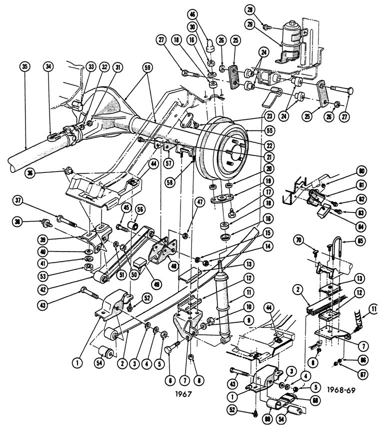 1967-69 Firebird Rear Suspension Illustrated Parts Break Down