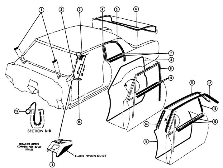 1967-69 Firebird Coupe Weatherstripping Illustrated Parts