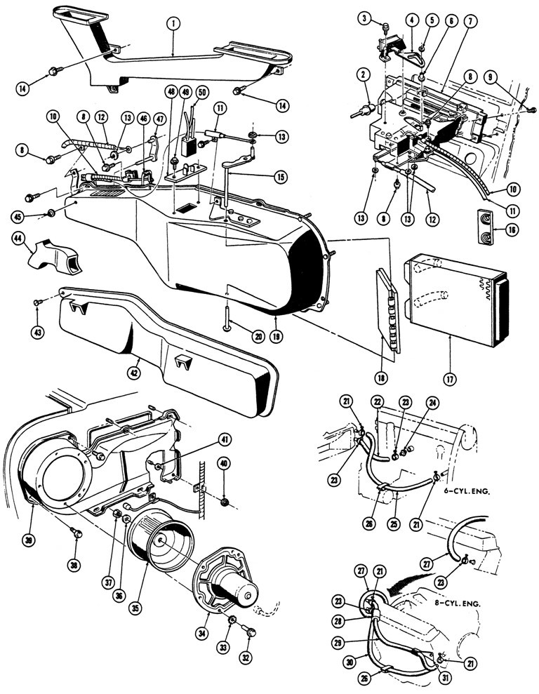 1967-68 Firebird Heater Illustrated Parts Break Down