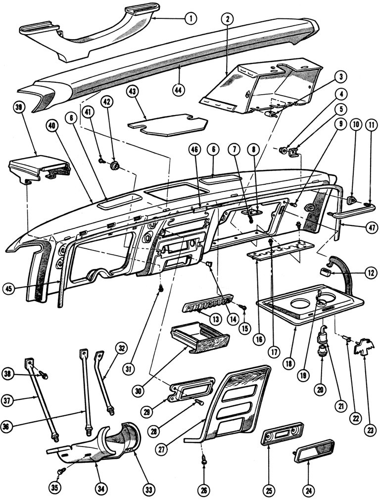 1967-68 Firebird Instrument Panel Hardware