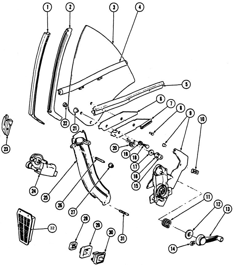 1967-69 Firebird Rear Quarter Window Illustrated Parts