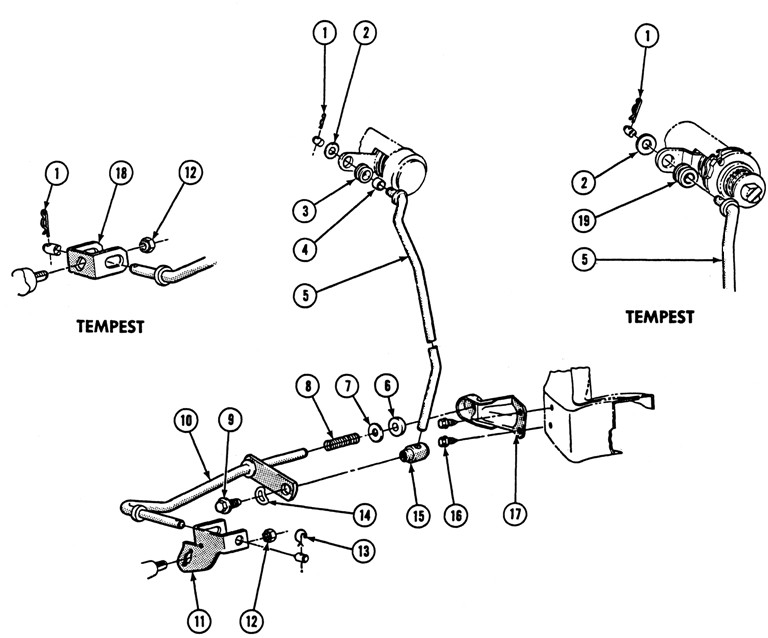 1969-72 Pontiac Hydra-Matic Column Lower Gearshift