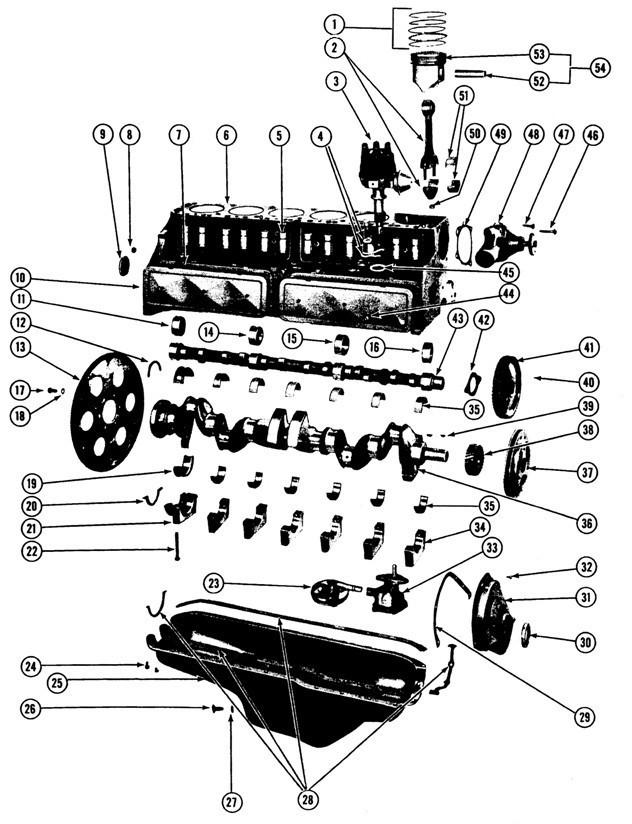 1964-65/1970-75 Pontiac 6 cyl. Engine Illustrated Parts