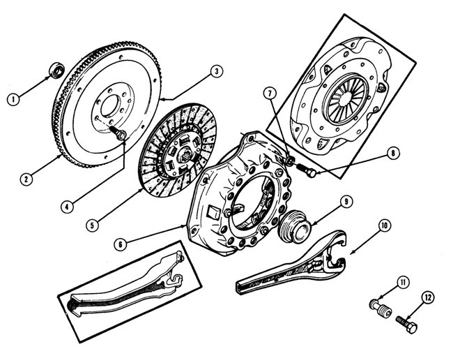 1961-75 Pontiac Clutch Flywheel Illustrated Parts Break Down