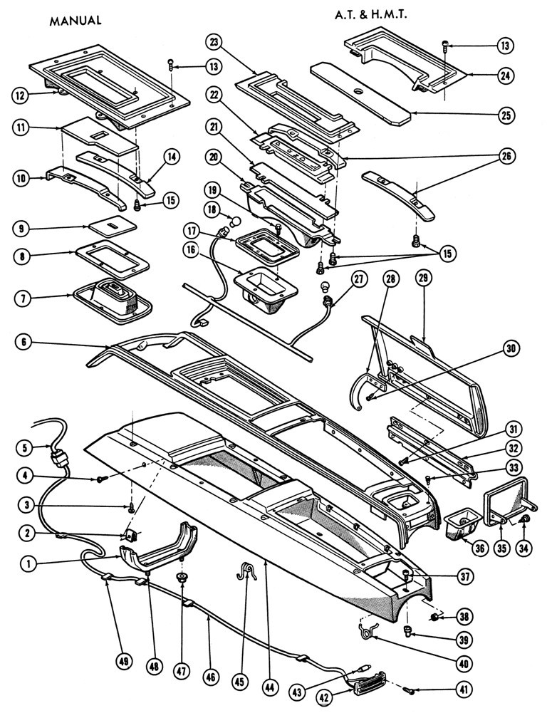 1967 Firebird Console Illustrated Parts Break Down