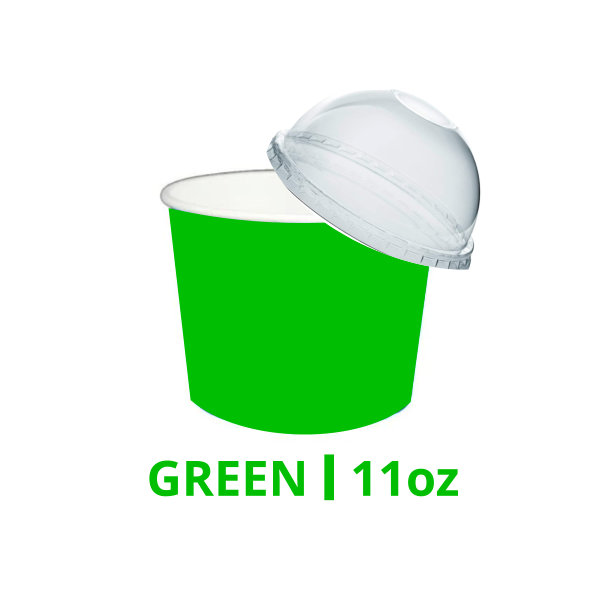 11oz Green Ice Cream Cups With & Without Lids – 200 Pieces
