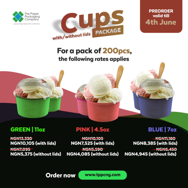 Ice Cream Cups With & Without Lids - 200 Pieces