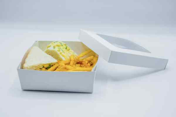 Plain Salad Boxes With Clear Lid - 100 Pieces
