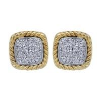 Gabriel Fashion 14 Karat Two-Tone Hampton Diamond Stud ...