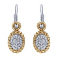 Gabriel Fashion 14 Karat Two-Tone Hampton Diamond Drop ...