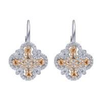 Gabriel Fashion 14 Karat Two-Tone Lusso Diamond Leverback ...
