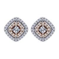 Gabriel Fashion 14 Karat Two-Tone Clustered Diamonds Stud ...