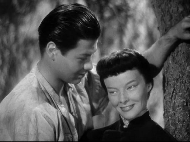 Turhan Bey, Katharine Hepburn:  Me no rikee.