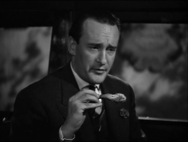 "George Sanders:  'You know old boy, I have the strong feeling that before the day is out, someone is going to make use of that expressive, but rather old-fashioned term, ""foul play"" . . . '"