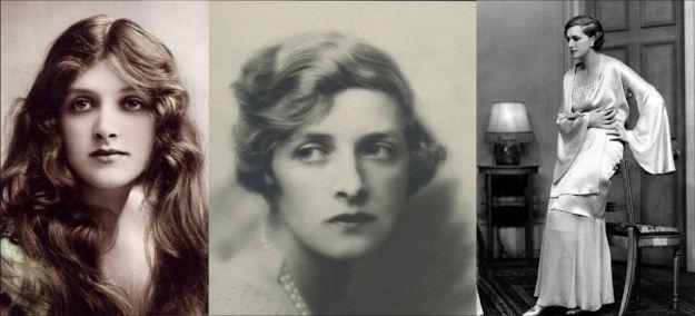 L to R: Gladys Cooper in the 1910s;  Hugh Cecil's 1926 portrait; Cooper on stage, circa mid-1920s.